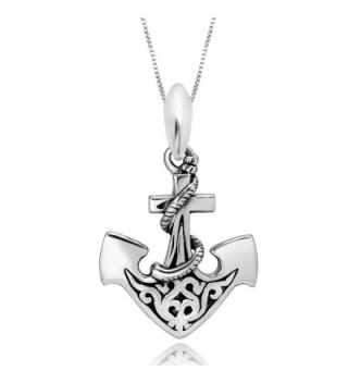 "925 Sterling Silver Celtic Anchor Pendant Necklace- 18"" - CA11M5Z0JVP"