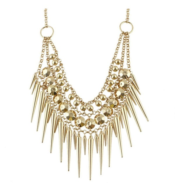 Feelontop Fashion Long Spike Statement Choker Collar Necklace with Jewelry Pouch - Gold - CC12HIFDBZH