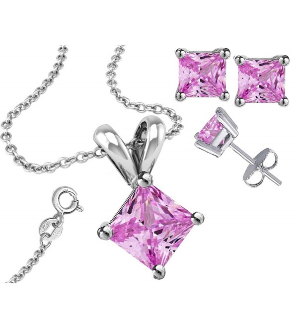 925 Sterling Silver Princess Cut Pink Pendant & Earring Combo Gift Set 1 Ct Each Stone 2 Ctw Earring - C511GA62Z07