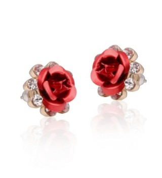 Carfeny Earrings Handcrafted Hypoallergenic Zirconia - Red - CL182IOGK4U