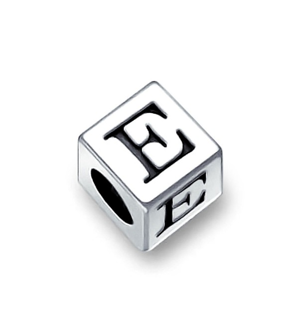 Bling Jewelry 925 Sterling Silver Block Letter E Alphabet Bead Charm - CY11565X8FZ