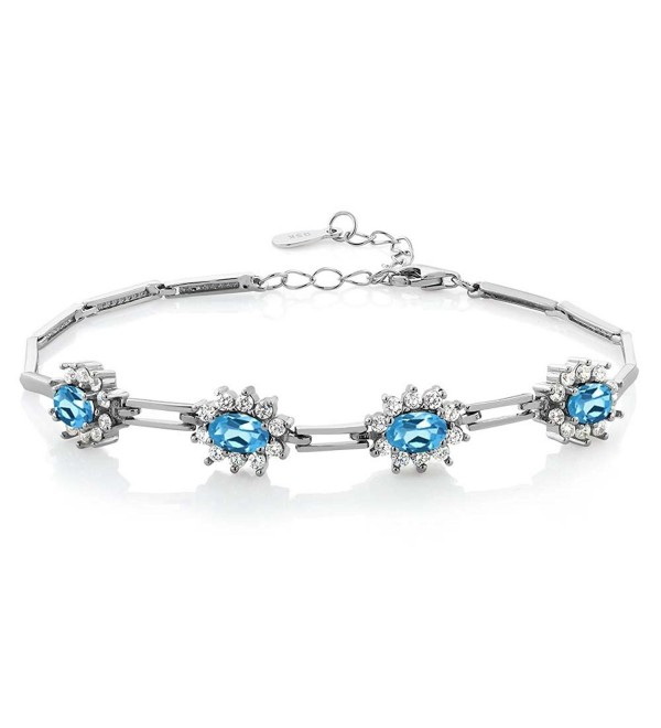 4.20 Ct Oval Swiss Blue Topaz Gemstone Birthstone 925 Sterling Silver Bracelet - C411LDRHYJB