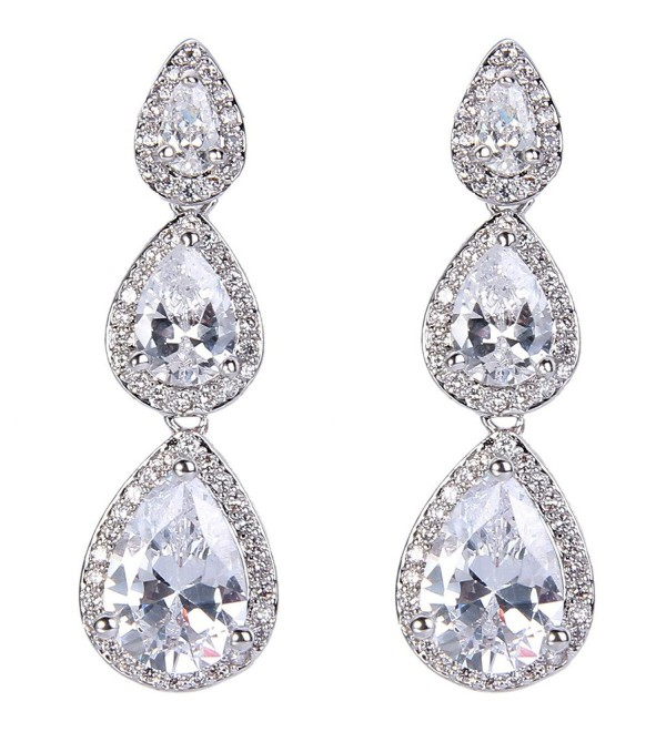 EVER FAITH Silver-Tone Cubic Zirconia Birthstone 3 Tear Drop Dangle Earrings - Clear - CW126RR9IWH