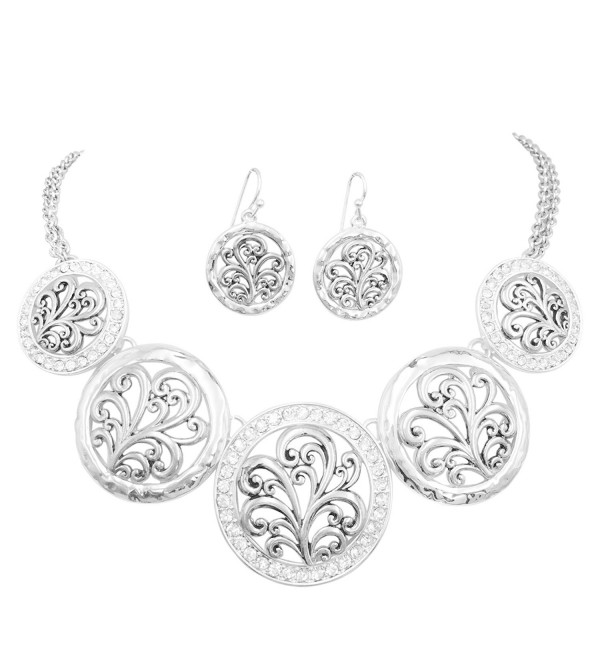 5 Disk Filigree Wave Swirl Bib Statement Necklace & Dangle Earring Set - CF18CCURNH6