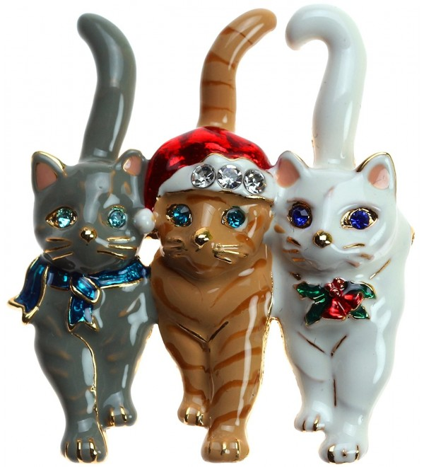 Lova Jewelry Christmas Triple Cat Pin - CL128T51I8H