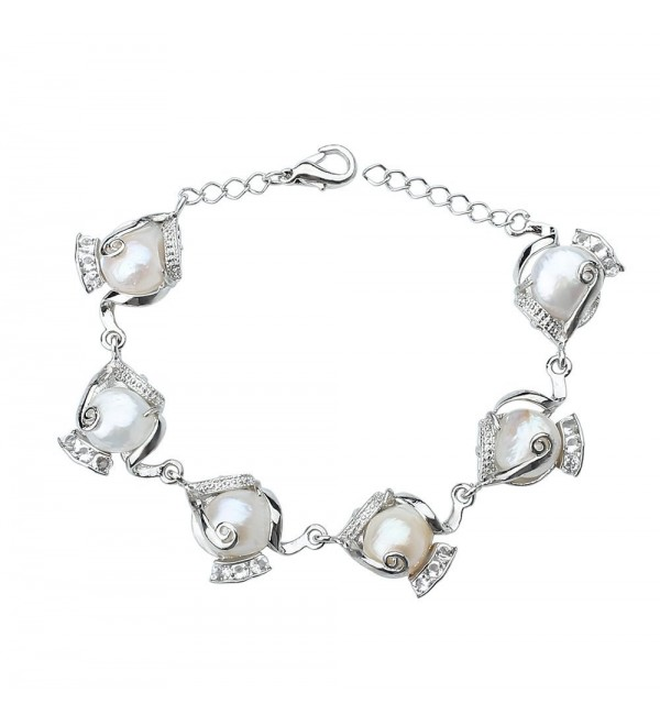 Silver Tone Alloy Bracelet-Freshwater Cultured Pearl Beaded Bangle - CT12K3QFABP