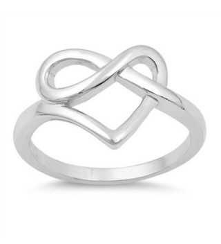 Heart Pretzel Infinity Love Knot Promise Ring Sterling Silver Band Sizes 4-10 - CF1854MA2R3