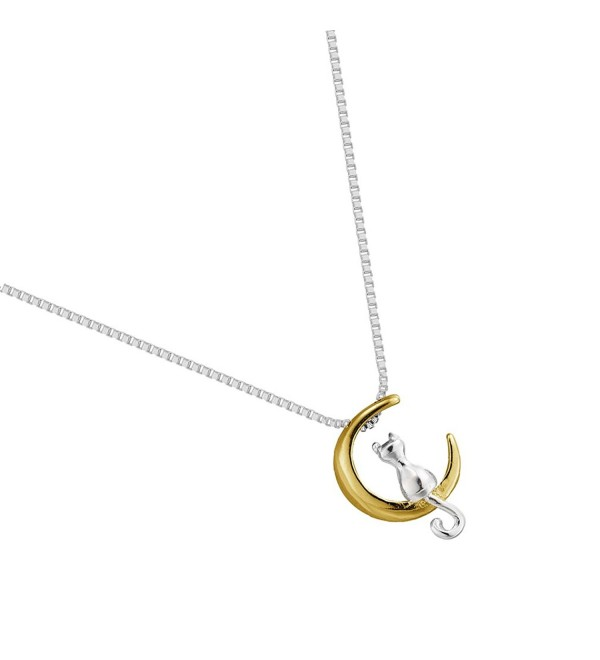 Long Tail Puss Cat Chain Necklace Gold Moon Cradle Dangle Necklace Jewelry for Women Girls - CD12OBUUB7R