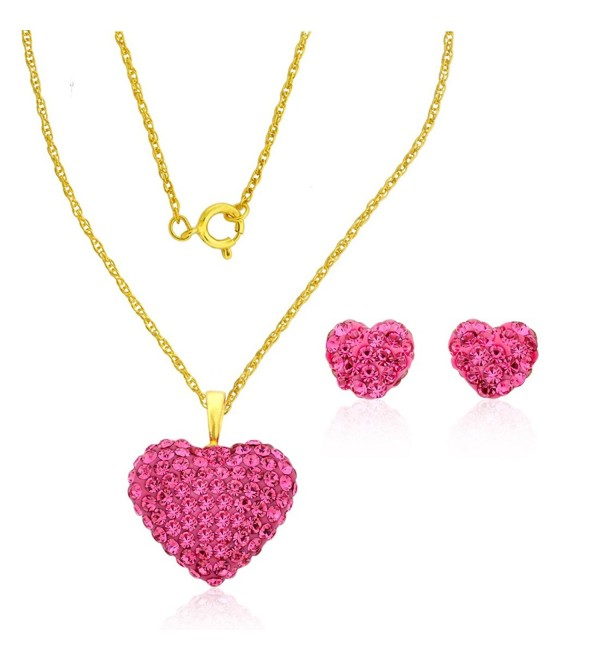 10k Yellow Gold Pink Swarovski Crystal Puffed Heart Pendant Earrings Set(Mother's Day Gift) - CM12BP4N5J9