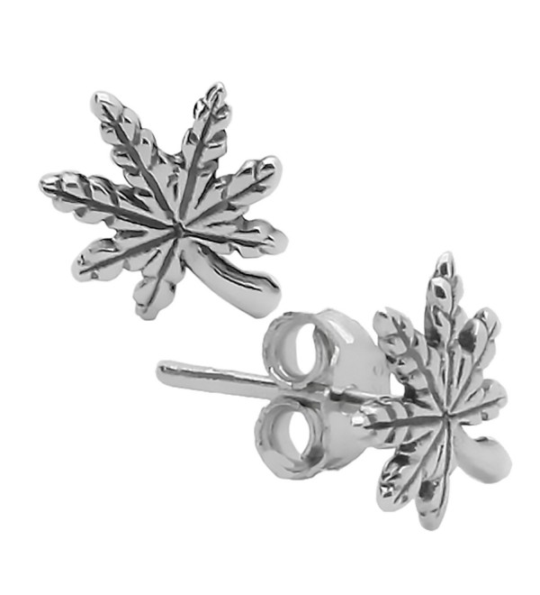 925 Sterling Silver Plain Stud Earrings Pot Leaf Design Post with Friction Back Earrings - CU12MJ9G6NL