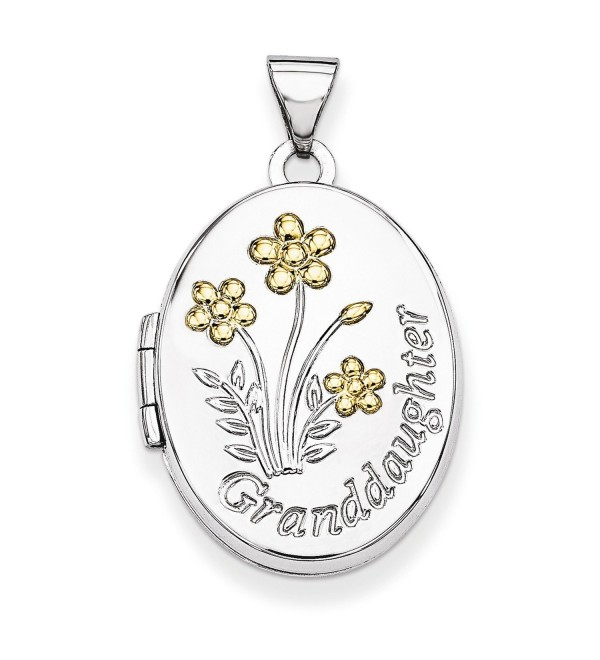 Sterling Silver with Gold-plate 21mm Oval Granddaughter Locket - CY11R6UD3L7