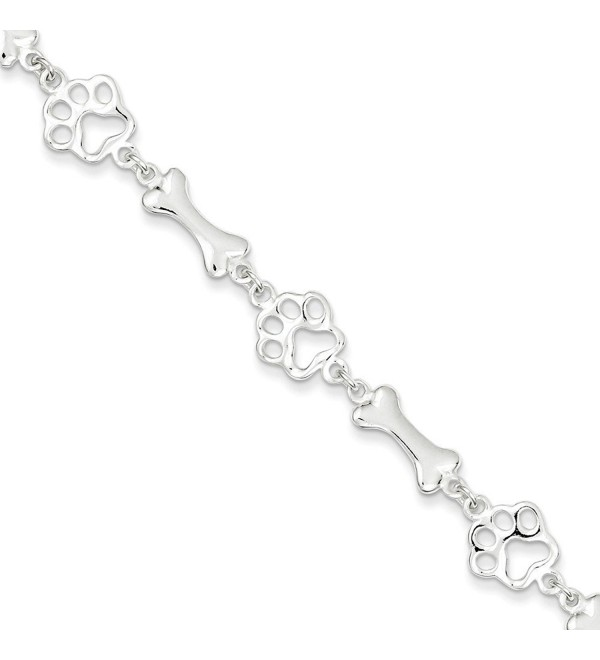 Sterling Silver Paw Print And Dog Bones Bracelet Length 7.5 Inch With Spring Ring Clasp - C312H02933R