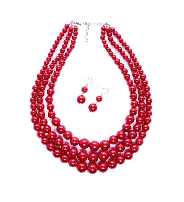 Women Three Layers Faux Pearl Necklace and Earring Set Handmade Pearl Suit - Red - C212M7FLB3R