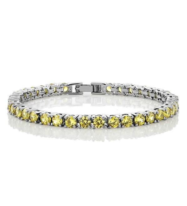 """12.00 Ct Round Cut Canary Yellow Cubic Zirconias CZ 7"""" Tennis Bracelet 7 Inch - C311KCQXGCD"""