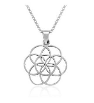 MIMI Sterling Silver Flower of Life Seed of Life Pendant Necklace- 18 inches - CR127QL8UEF