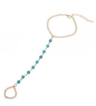 Imixlot Bohemian Vintage Slave Chain Finger Ring Hand Harness Bead Bracelet - CP11NRFESXR