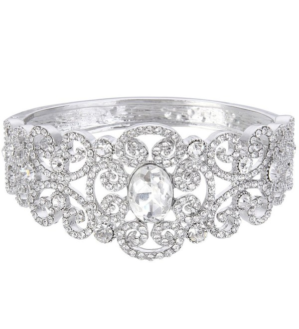 EVER FAITH Austrian Crystal Victorian Inspired Gorgeous Wedding Knot Bangle Bracelet Clear - Silver-Tone - CU128WCAE3V