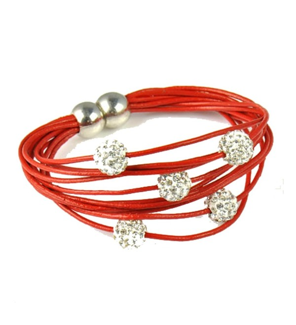 Huan Xun Women's Bling Shamballa Beads Real Leather Bracelet - CG11BE6915B