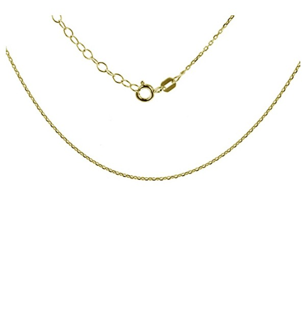 "Sterling Silver Plated Diamond Cut 1.00mm Cable Chain with 2"" Extension - Type-yellow-gold - CE1853K5Z37"