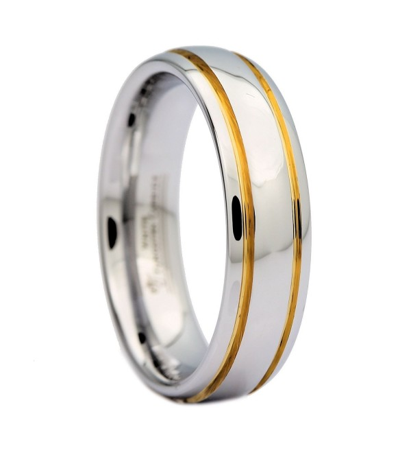 MJ 6mm Polished White Tungsten Carbide Ring 2 Gold Stripes MJ Wedding Band Ring - C9127XY24NX