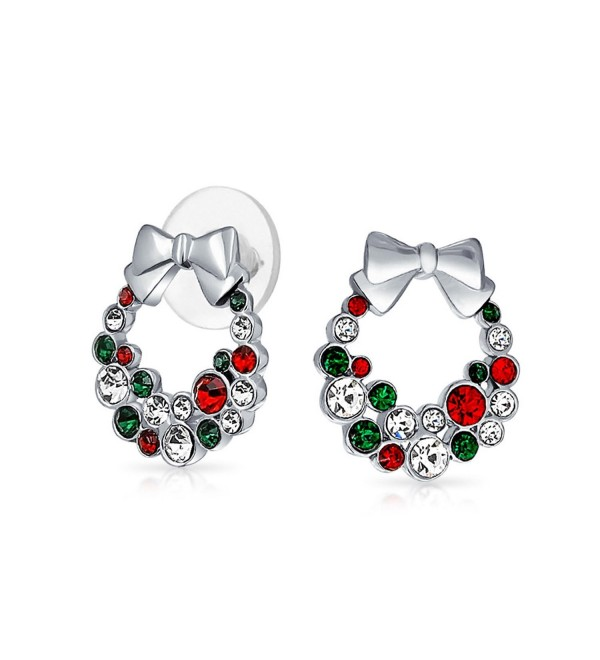 Bling Jewelry Simulated Garnet Simulated Emerald Crystal Christmas Wreath Earrings Rhodium Plated Alloy - CQ11BIEFNT7