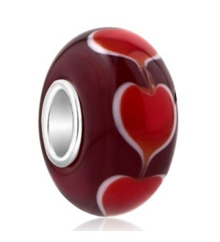 CharmSStory 925 Sterling Silver Heart Glass Charms Bead For Bracelets - C212KGW254R