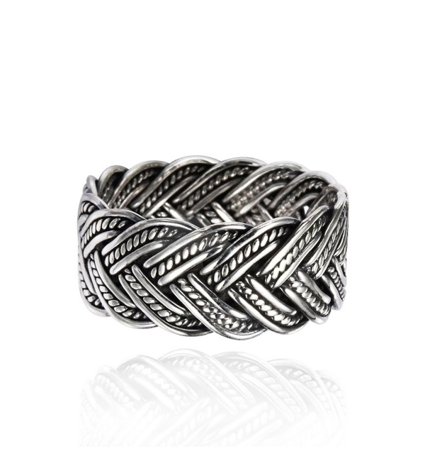 925 Oxidized Sterling Silver 10 mm Braided Woven Wave Antique Style Band Thumb Ring - CX11BS1NZ1X