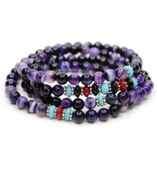 KISSPAT Natural Gemstone Bead Wrap Bracelet Crystal Chakra Stone Bracelet For Women - Amethyst - CE12EGI8OI3