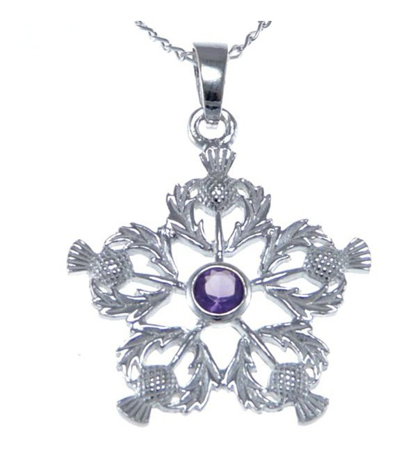 "Sterling Silver Amethyst Thistles Pendant - Scottish Necklace with 18"" Chain - CH12N60OT0T"