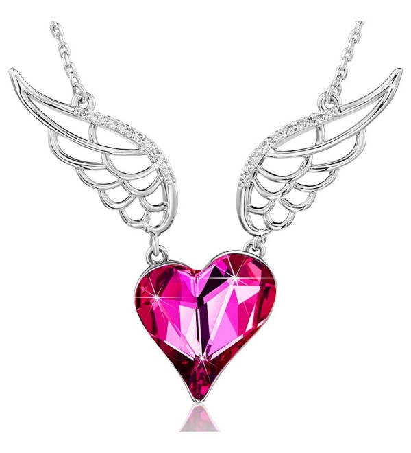 Love Heart Jewelry for girls Pendant Necklace Crystals From SWAROVSKI Women Daughter Wife Mom Anniversary - Pink - C7189AXTKTO