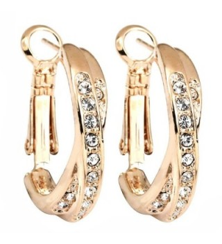 FC Rose Gold Plated Cubic Zirconia Crystal Cross Hoop Dangle Pierced Earrings - CG11DZLWU1P