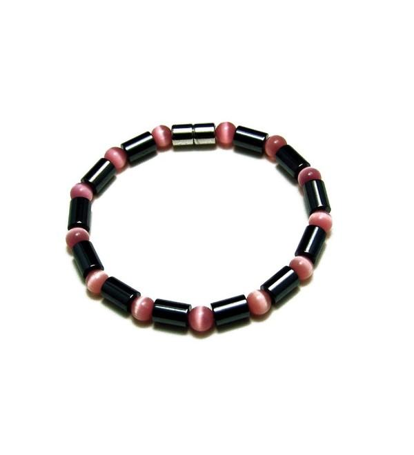 "Accents Kingdom Women's Magnetic Hematite Cat Eye Bead Bracelet - ""Pink-Color Bracelet 7.5"""""" - CJ113G9F24N"