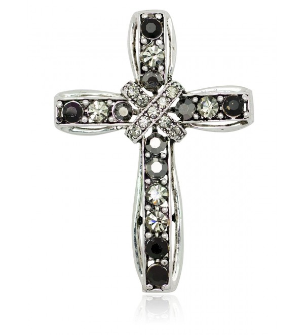 Akianna Silver-tone Swarovski Element Black Crystals Cross Pin Brooch - C81275W2NU7