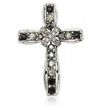 Akianna Silver-tone Swarovski Element Black Crystals Cross Pin Brooch - C81275W2NU7