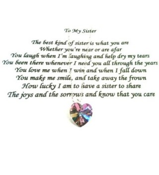 "Sister Poem with Lavender Swarovski Crystal Heart on 18"" Sterling Silver Plated Chain - CR11TZAWCOT"