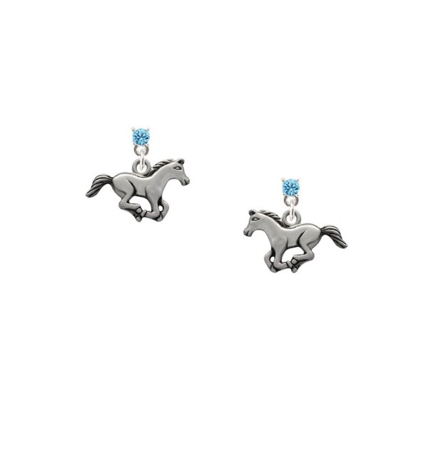 Delight Running Horse - Hot Blue Crystal Post Earrings - CO11KEORHUP