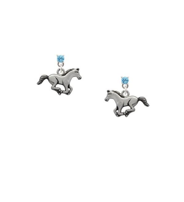 Delight Running Horse - Hot Blue Crystal Post Earrings - CO11KEORHUP