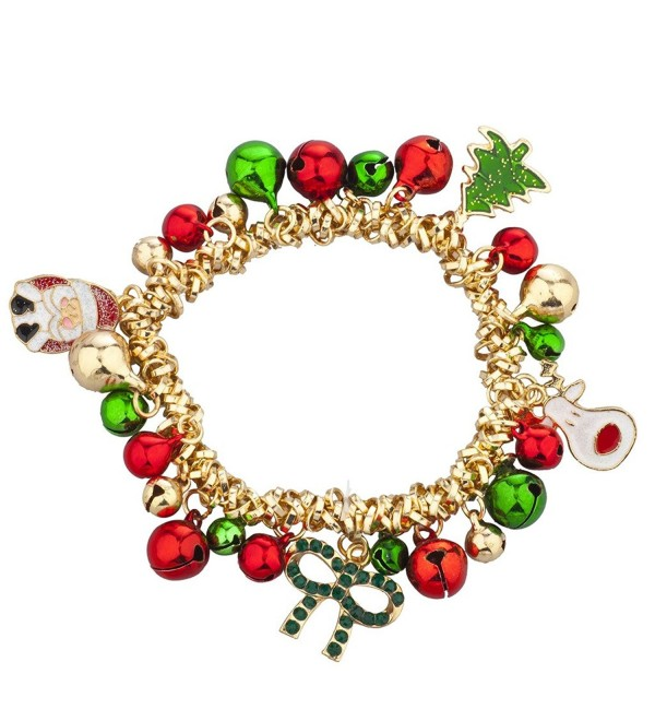 Lux Accessories Christmas X-Mas Holiday Jingle Bells Charm Bracelet - Silver - C312LO54YT9
