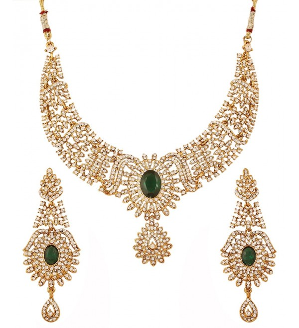 Touchstone Indian bollywood faux emerald white rhinestones bridal jewelry necklace in antique gold tone - Green - CH12L5AYFD7