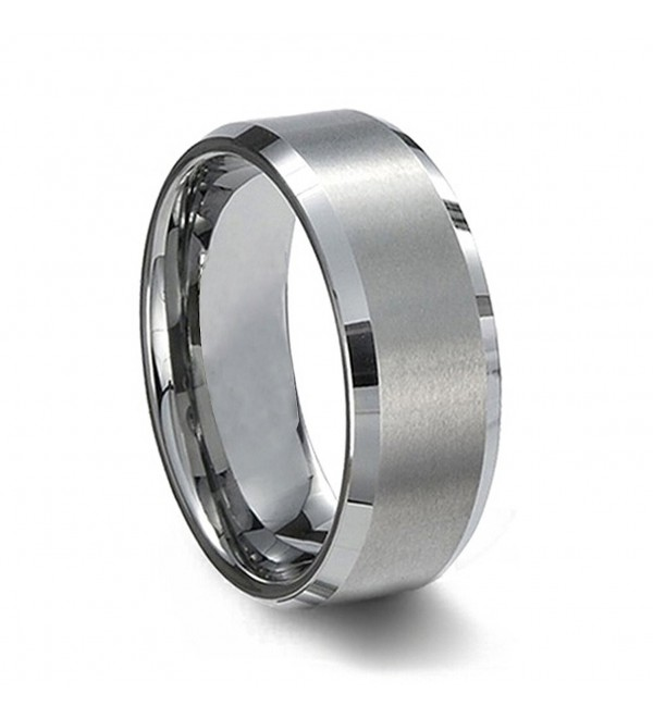 SJ Fashion Men's 8mm Tungsten Carbide Beveled Edge Satin Finish Wedding Rings 7-16 - C312K0LV2W5