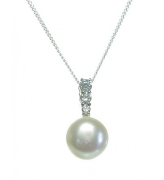 Stylish 925 Sterling Silver 9.0mm Freshwater Cultured Pearl Women Pendant + Chain with Cubic Zirconia/CZ - CG11FUETFL3