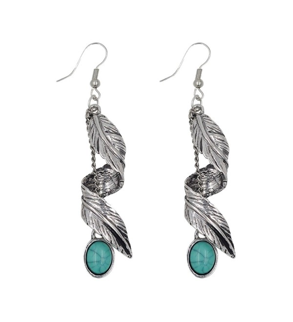 Maying Retro Bohemia Earrings Tassel Leaf Drop Dangle Earrings - Silver - CL12O2XUL8L