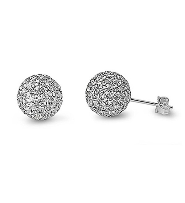 Sterling Silver Clear CZ Ball Stud Earrings - (Available Different Size) - C7118RD4YLF