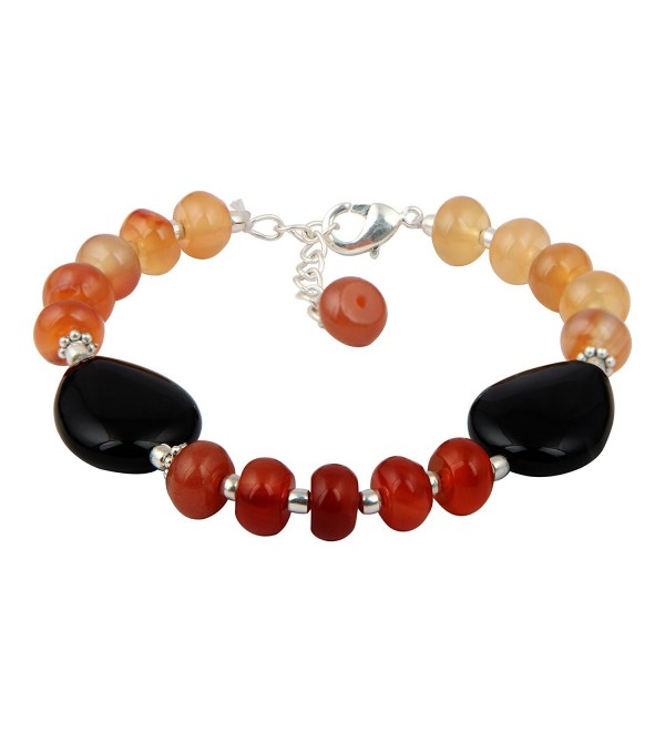 Stunning Carnelian And Black Agate 7 Inches Gemstone Trendy Bead Bracelet Jewelry for Women - CW12LGT6Z8B