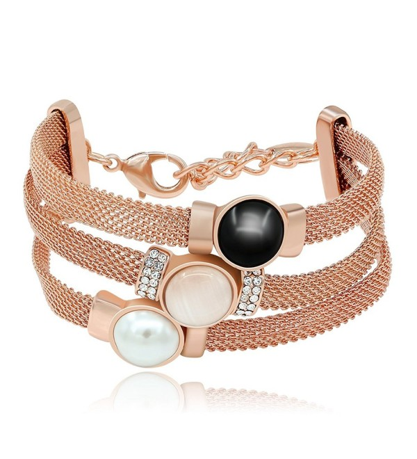 """Kemstone Tri Layer Simulated Pearl Opal Crystal Rose Gold Plated Strand Bracelet-7.27"""" - CH12INK26BL"""