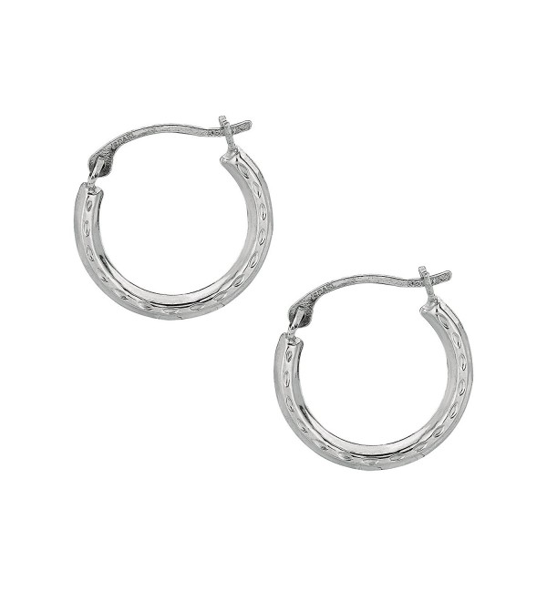 JewelStop 10K White Gold Tubular Hoop Round Hoop Fancy Earrings - CL128EW83GF