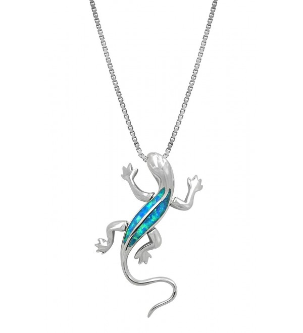 "Sterling Silver Gecko Necklace Pendant with Simulated Blue Opal and 18"" Box Chain - C9119BOYF45"