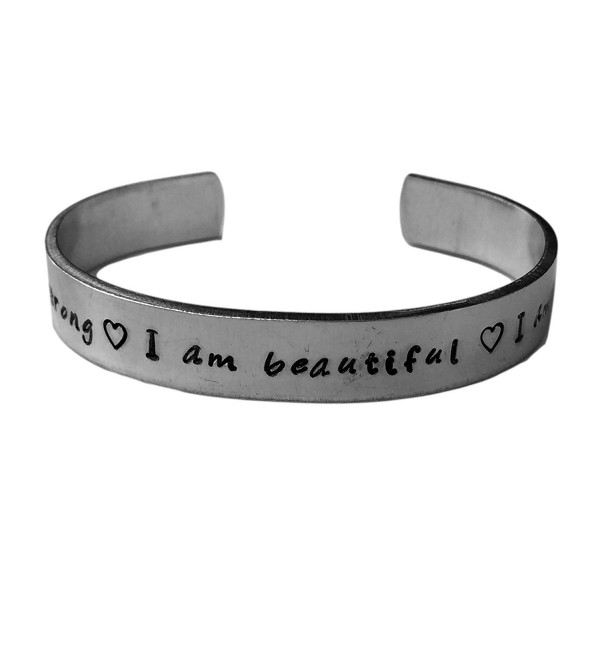 "I am Strong I am Beautiful I am Enough | Inspirational Cuff Bracelet 1/4"" Silver Aluminum Adjustable - CS12LHK5ZLH"