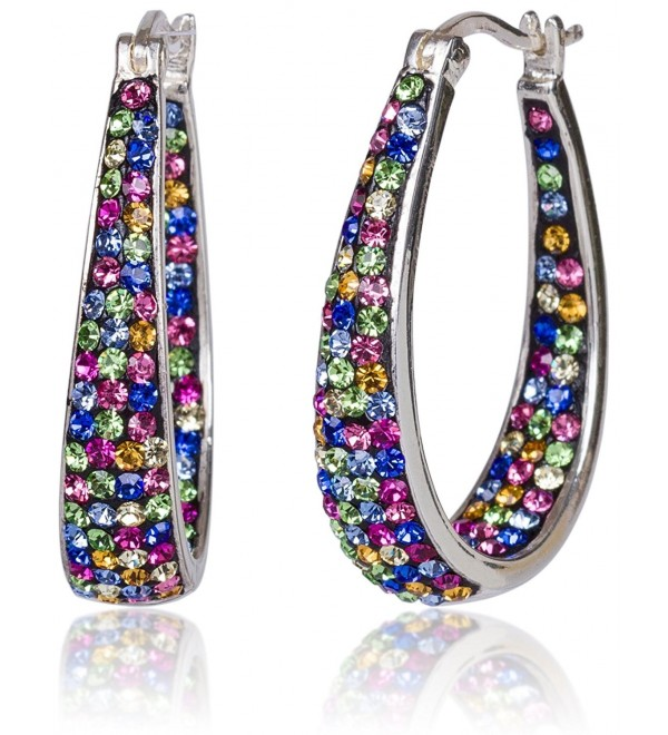 Carly Creations Women's Silver Plated Genuine Crystal Hoop Earring - Multicolored - C7183M4NC5Y