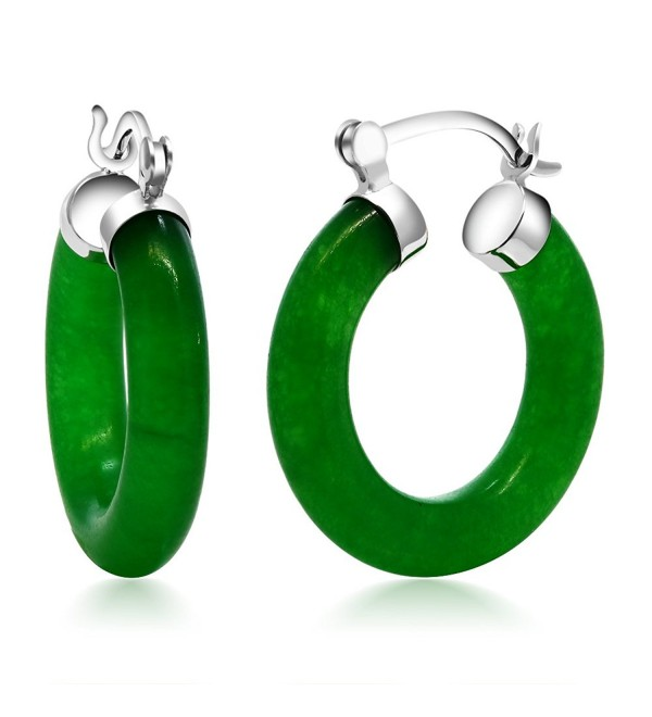 "Vibrant Green 925 Sterling Silver Solid Jade Hoop Earrings 0.5"" - CB11A8SDLBP"
